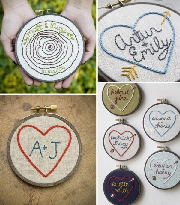 Embroidery with couples name or initials