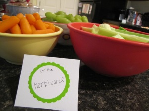 "Veggies and fruit for the ""herbivores"""